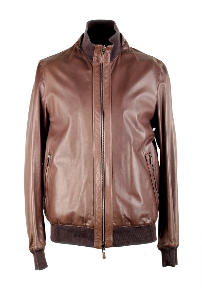 Ermenegildo Zegna Brown Reversible Bomber Leather Coat Size 50 / 40R U.S. - thumbnail | Costume Limité