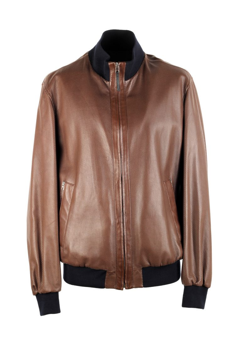 Ermenegildo Zegna Brown Reversible Bomber Leather Coat Size 52 / 42R U.S. - thumbnail | Costume Limité