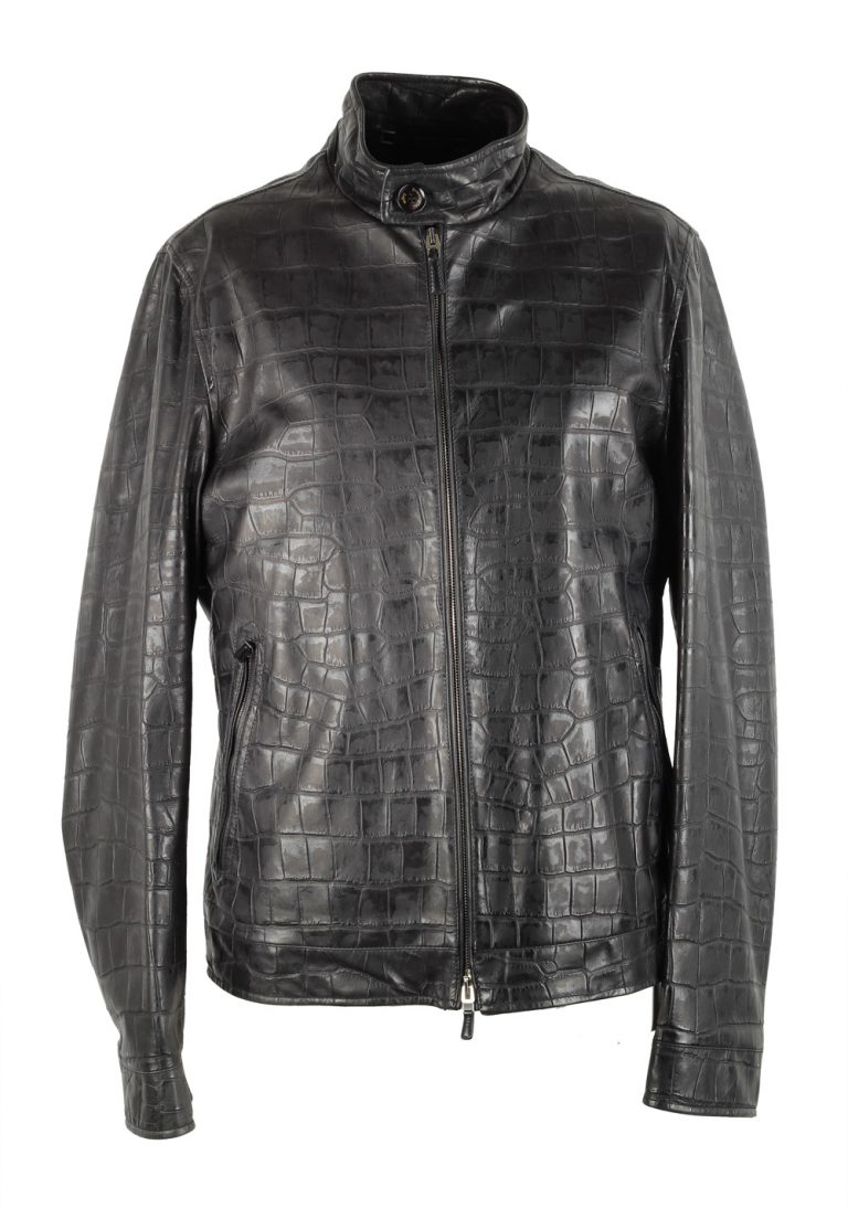 Ermenegildo Zegna Black Embossed Alligator Leather Coat Size 50 / 40R U.S. - thumbnail | Costume Limité