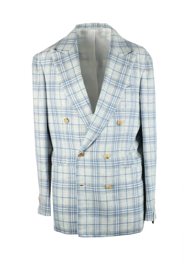 Orazio Luciano Blue Checked  Sport Coat Size 48R / 38R U.S. In - thumbnail | Costume Limité