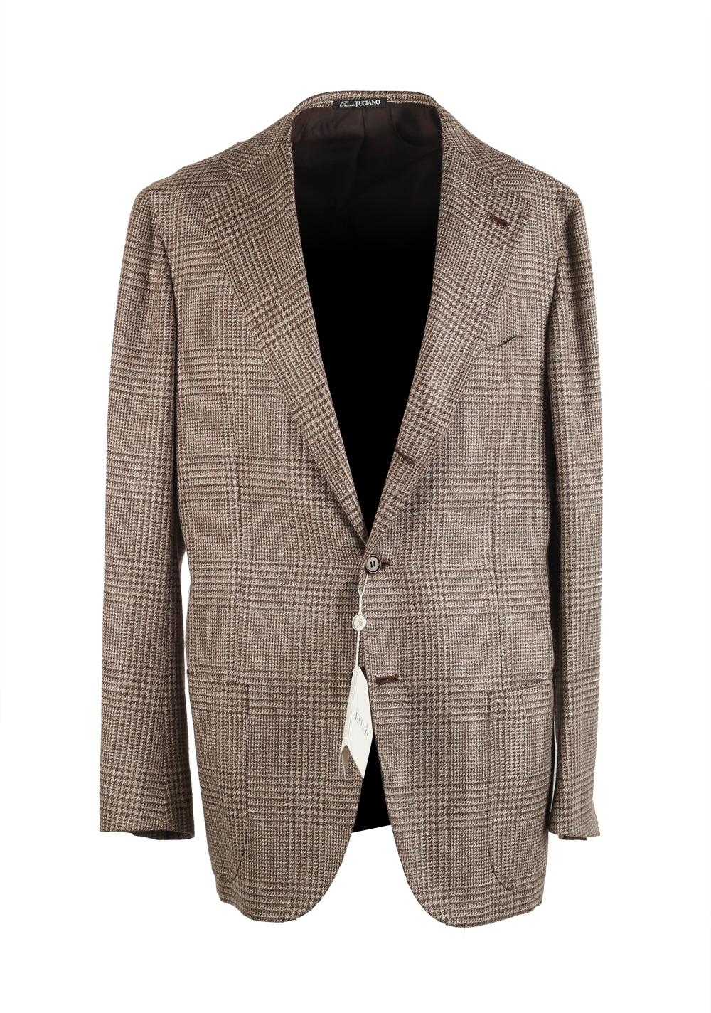 Orazio Luciano Beige Sport Coat Size 50L / 40L U.S. In Wool Linen Silk | Costume Limité