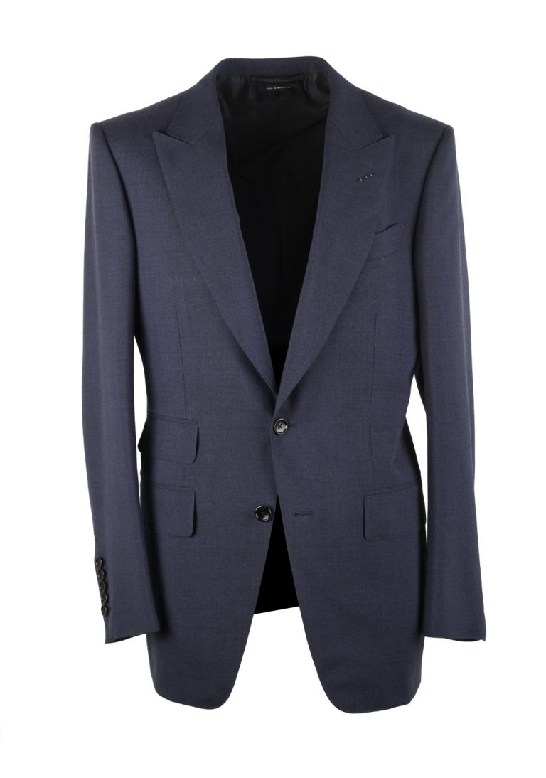 TOM FORD Atticus Solid Blue Suit Size 46 / 36R U.S. - thumbnail | Costume Limité
