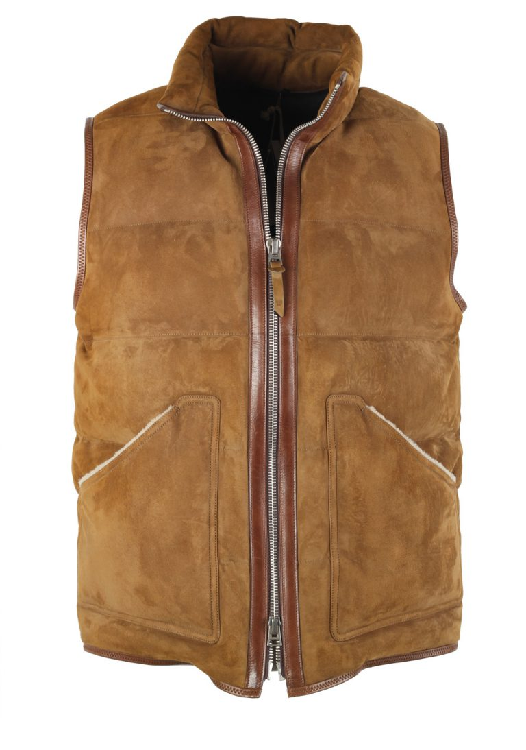 TOM FORD Brown Shearling Quilted Lamb Suede Gilet Size 50 / 40R U.S. - thumbnail | Costume Limité