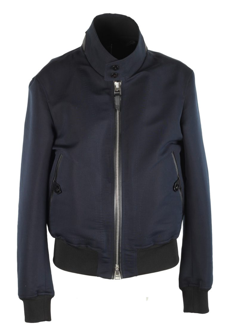 TOM FORD Blue Bomber Jacket Size 50 / 40R U.S. In Cotton Silk - thumbnail | Costume Limité