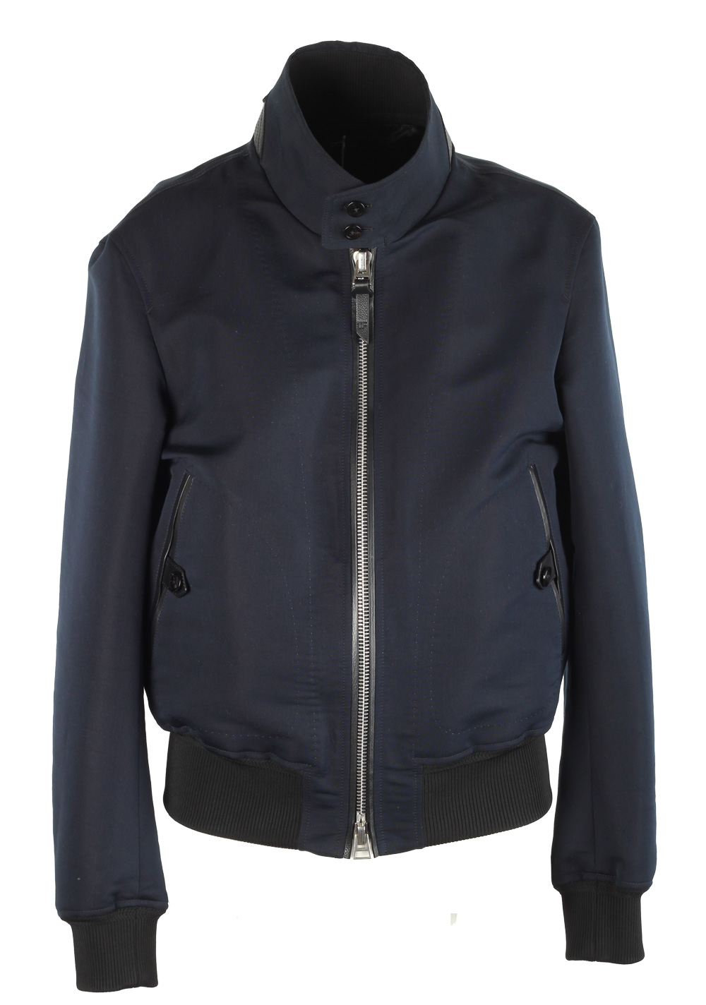 TOM FORD Blue Bomber Jacket Size 50 / 40R U.S. In Cotton Silk | Costume Limité
