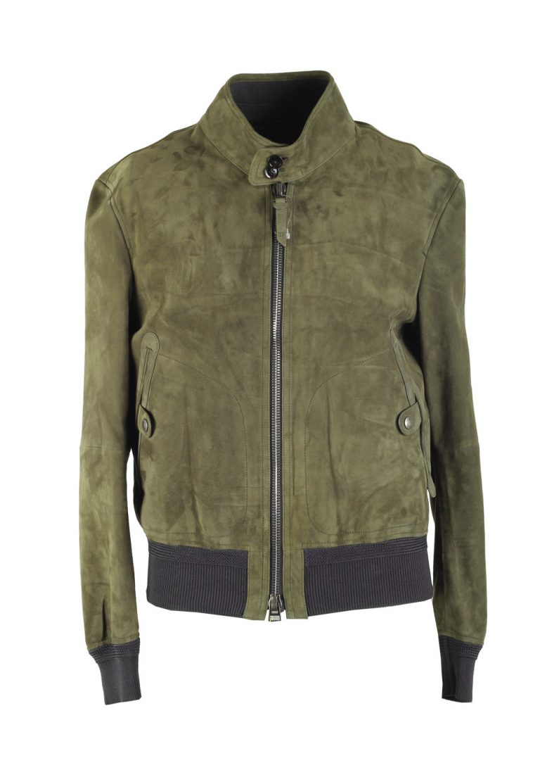 TOM FORD Green Lamb Leather Suede Jacket Coat Size 54 / 44R U.S. Outerwear - thumbnail | Costume Limité