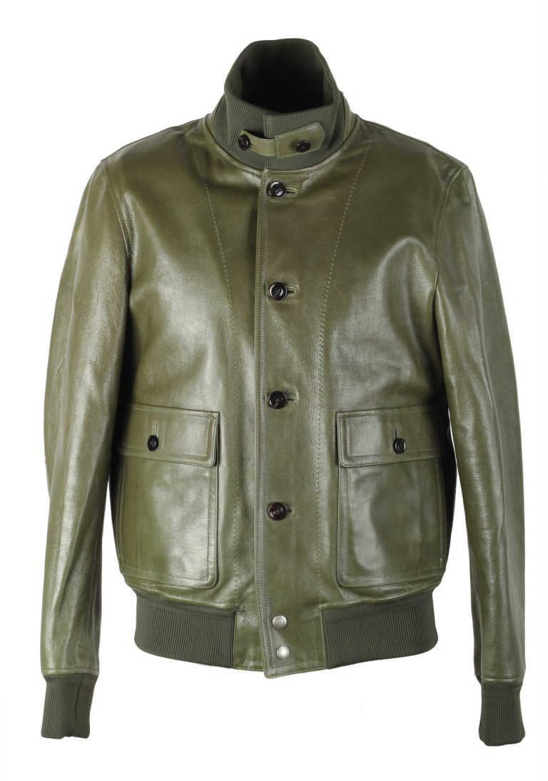 TOM FORD Green Leather Jacket Coat Size 48 / 38R U.S. Outerwear - thumbnail | Costume Limité