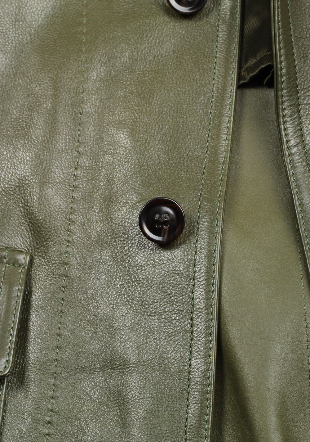 TOM FORD Green Leather Jacket Coat Size 48 / 38R U.S. Outerwear   Costume Limité
