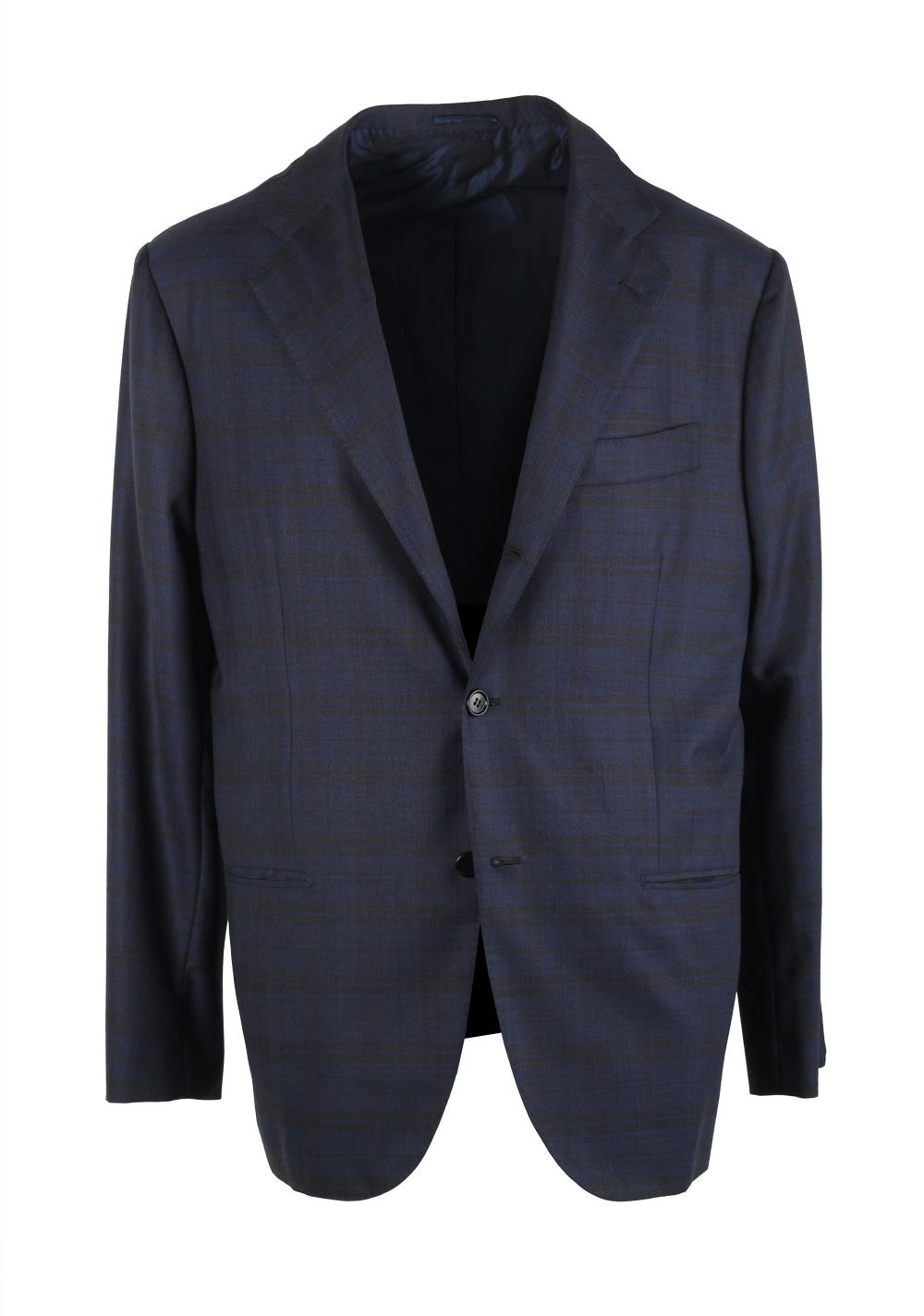 Kiton Blue Checked Evo Suit Size 54 / 44R U.S. Wool | Costume Limité