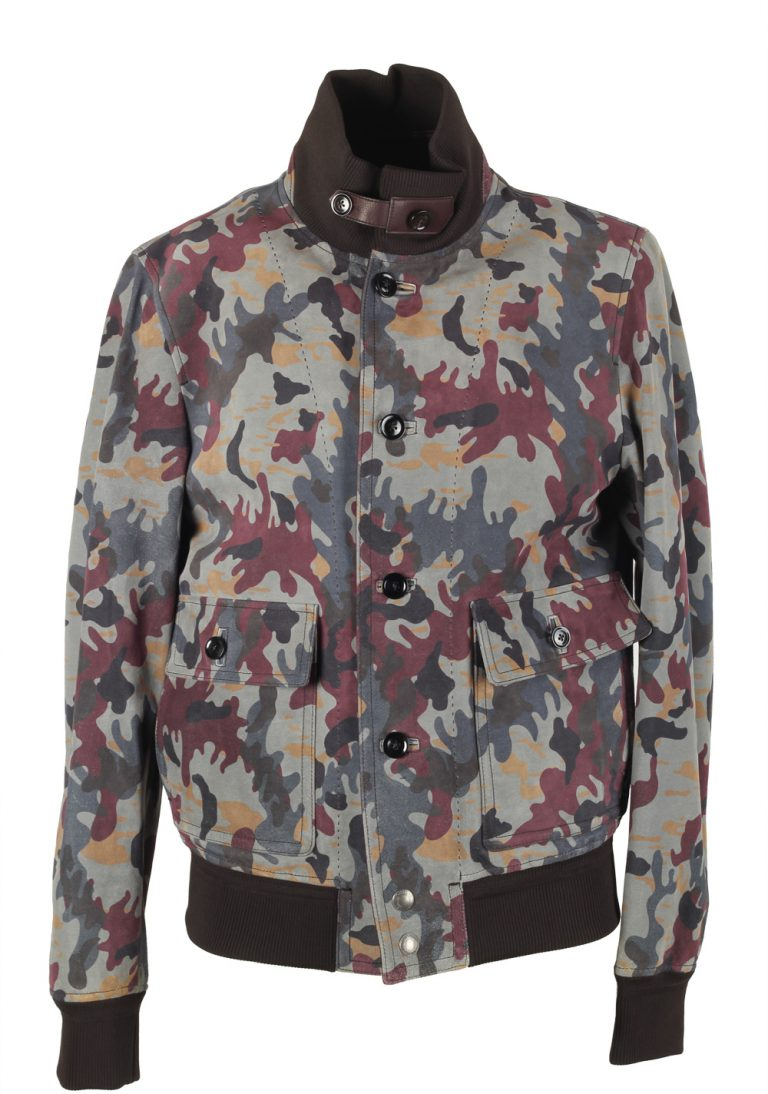 TOM FORD Camouflage Leather Suede Bomber Jacket Coat Size 48 / 38R U.S. Outerwear - thumbnail | Costume Limité