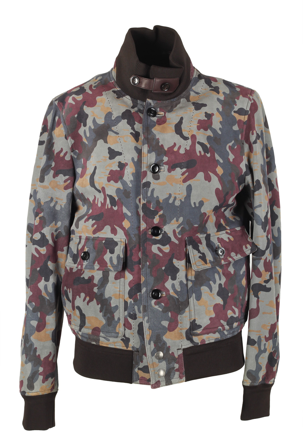 TOM FORD Camouflage Leather Suede Bomber Jacket Coat Size 48 / 38R U.S. Outerwear | Costume Limité