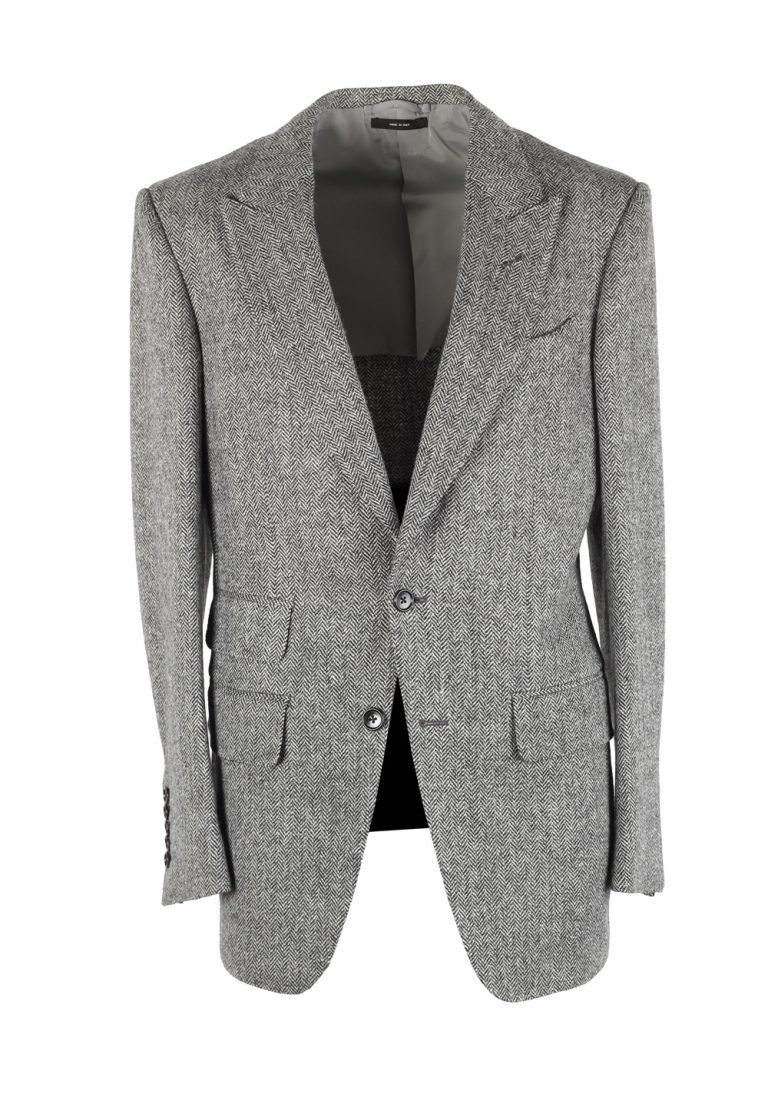 TOM FORD Atticus Gray Herringbone Suit Size 46 / 36R U.S. - thumbnail | Costume Limité