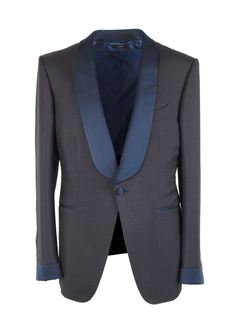 TOM FORD O'Connor Blue Tuxedo Suit Smoking Size 48C / 38S U.S. Fit Y In Mohair Cashmere - thumbnail | Costume Limité