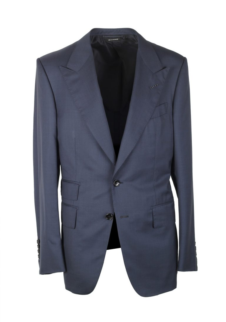 TOM FORD Shelton Solid Blue Suit Size 48 / 38R U.S. In Wool Silk - thumbnail | Costume Limité