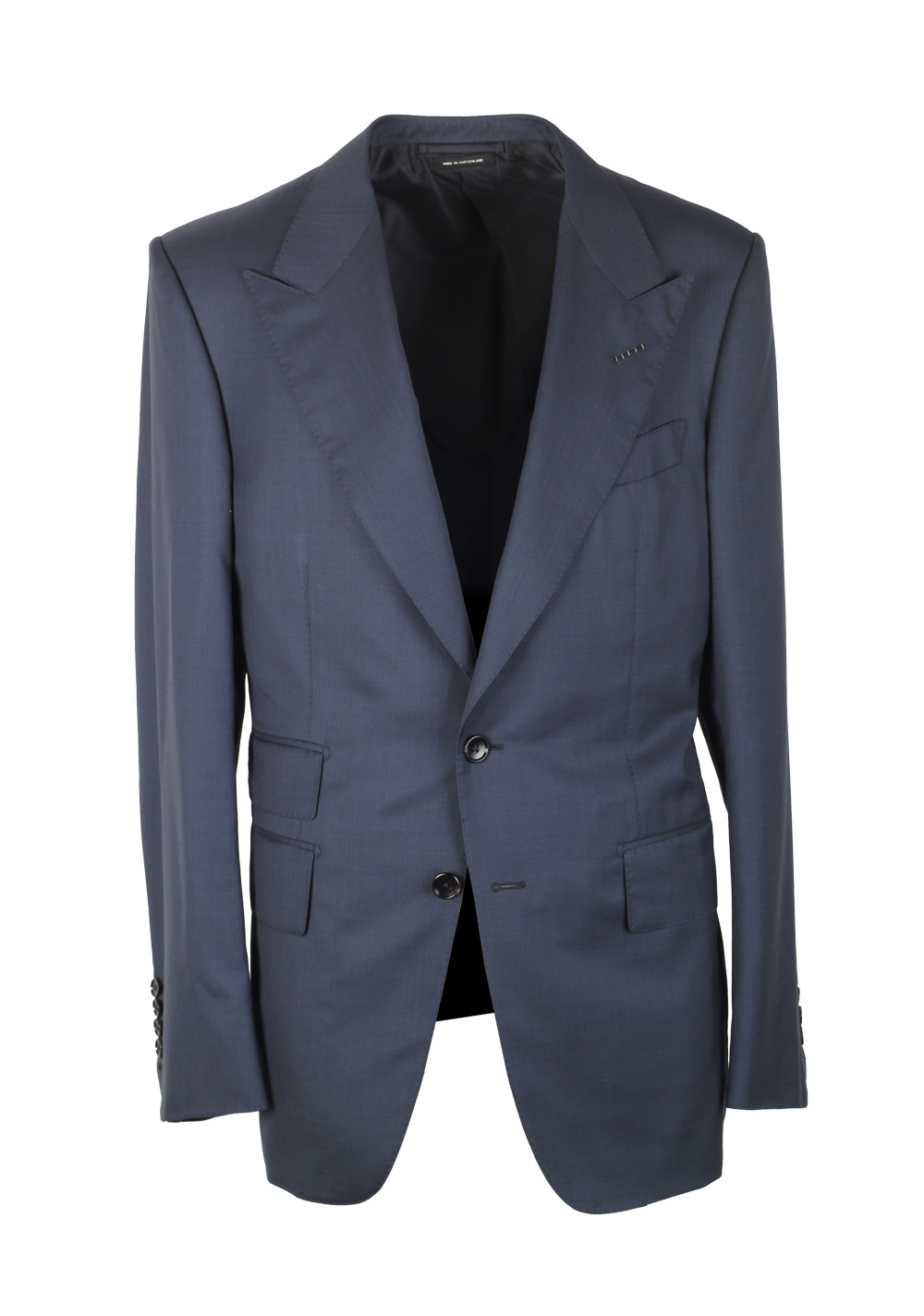 TOM FORD Shelton Solid Blue Suit Size 48 / 38R U.S. In Wool Silk | Costume Limité