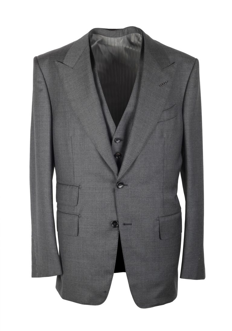 TOM FORD Windsor Gray 3 Piece Suit Size 50 / 40R U.S. Wool Fit A - thumbnail | Costume Limité