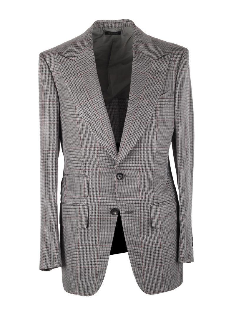 TOM FORD Atticus Gray Checked Suit Size 46 / 36R U.S. In Silk - thumbnail | Costume Limité