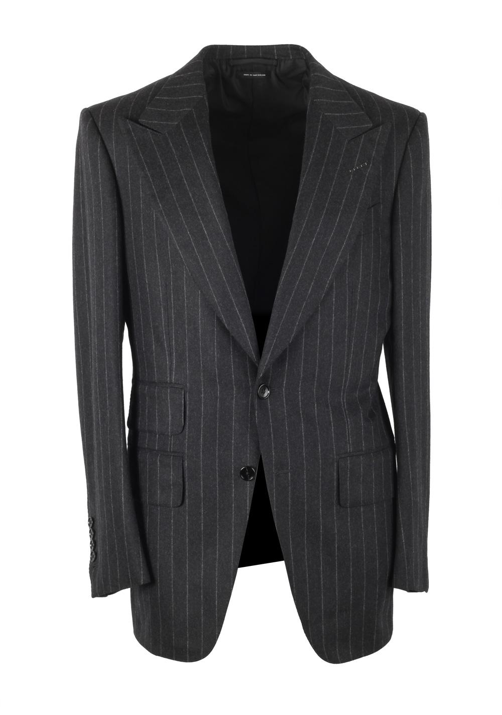 TOM FORD Atticus Gray Striped Flannel Suit Size 46 / 36R U.S. | Costume Limité