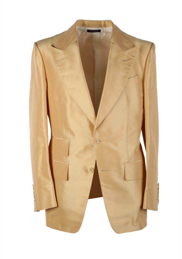 TOM FORD Basic Base M Yellow Suit Size 46 / 36R U.S. In Silk - thumbnail | Costume Limité