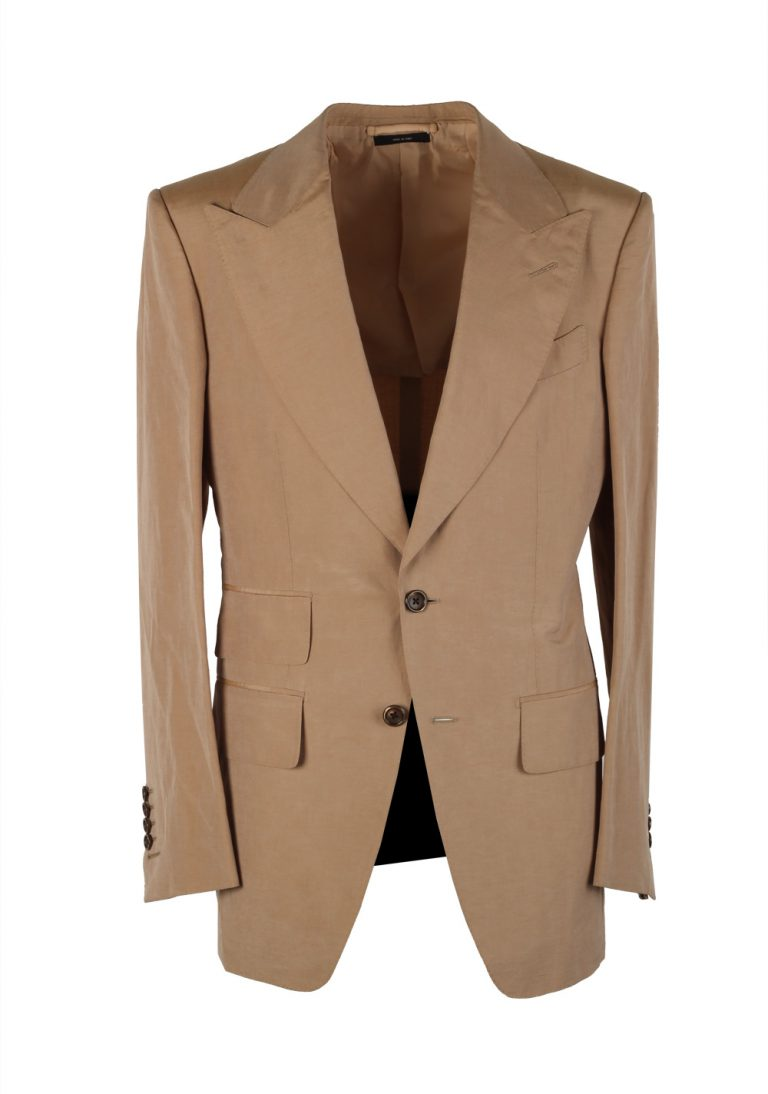 TOM FORD Atticus Sand Suit Size 46 / 36R U.S. In Silk Linen - thumbnail | Costume Limité