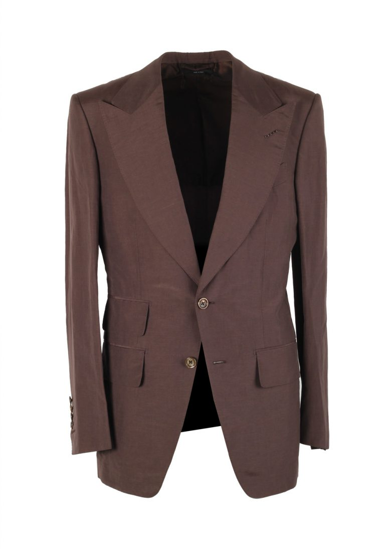 TOM FORD Atticus Brown Suit Size 46 / 36R U.S. In Silk Linen - thumbnail | Costume Limité