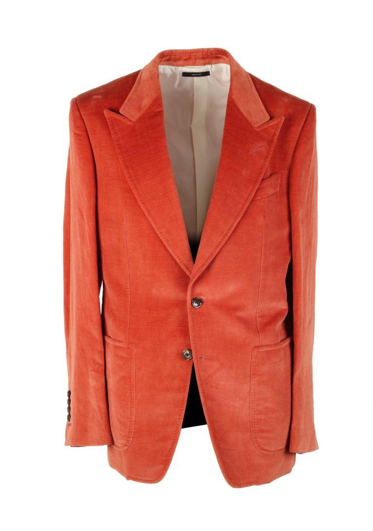 TOM FORD Shelton Copper Velvet Suit Size 48 / 38R U.S. In Cotton Linen - thumbnail   Costume Limité