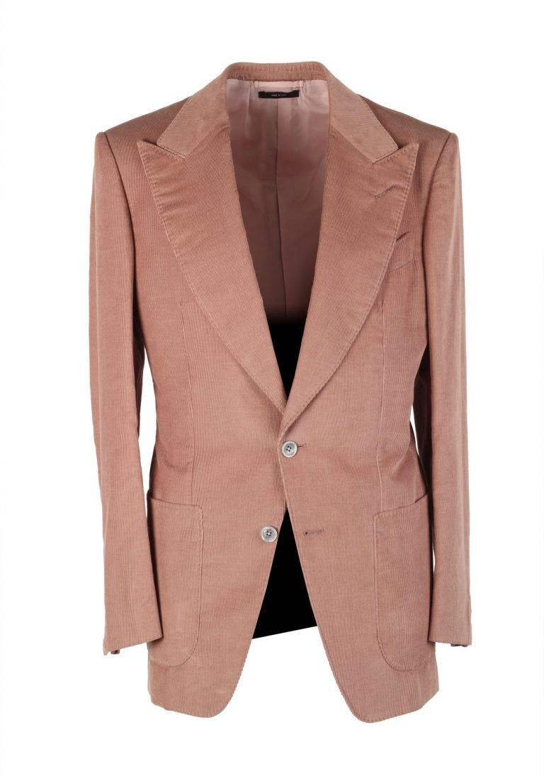 TOM FORD Atticus Pink Corduroy Suit Size 46 / 36R U.S. In Cotton Linen - thumbnail | Costume Limité