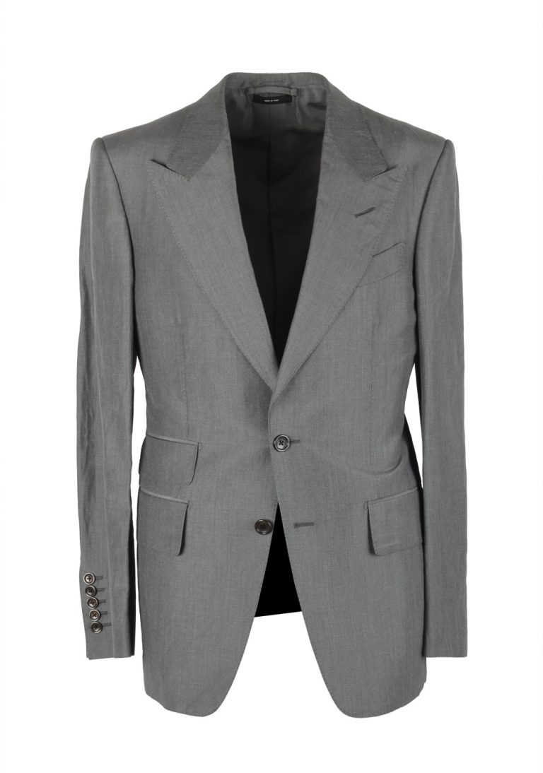 TOM FORD Shelton Gray Suit Size 46 / 36R U.S. In Linen Silk - thumbnail | Costume Limité