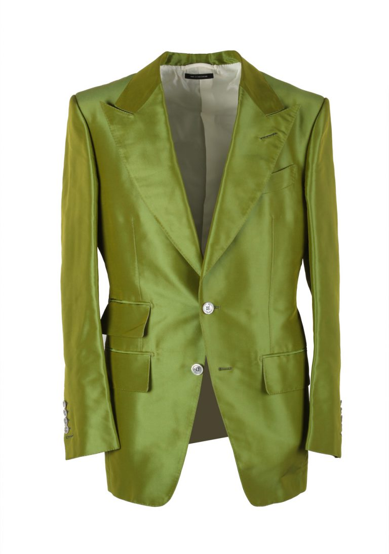TOM FORD Basic Base M Green Suit Size 46 / 36R U.S. In Silk - thumbnail | Costume Limité