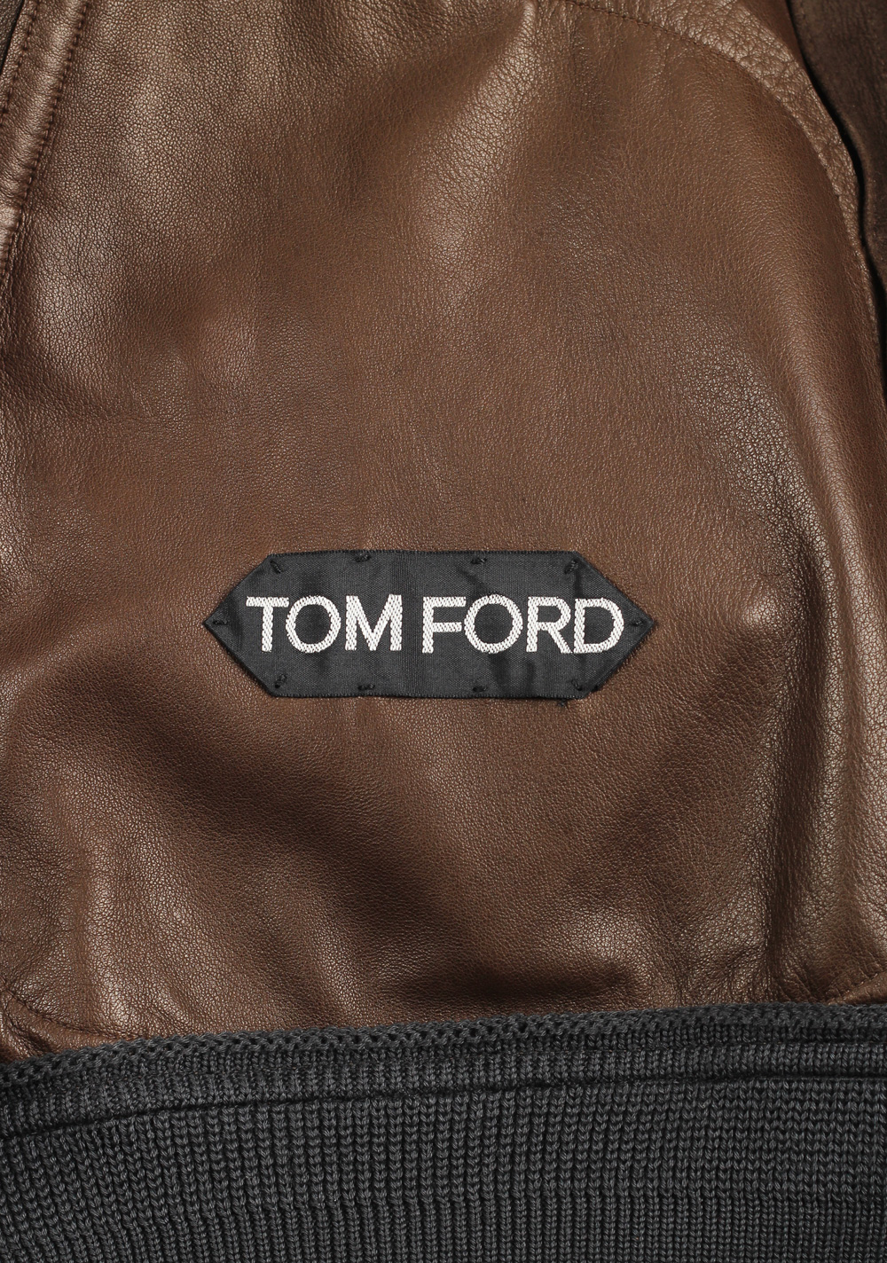 TOM FORD Brown Leather Suede Bomber Jacket Coat Size 48 / 38R U.S.   Costume Limité