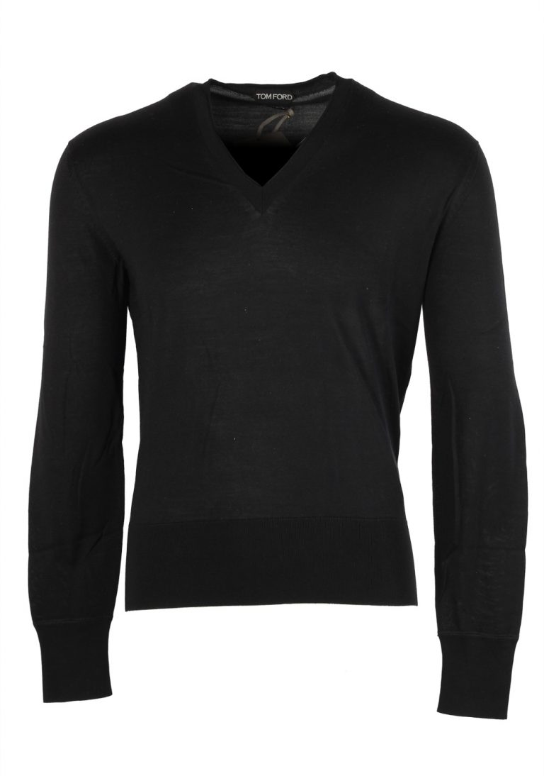 TOM FORD Black V Neck Sweater Size 48 / 38R U.S. In Silk - thumbnail | Costume Limité