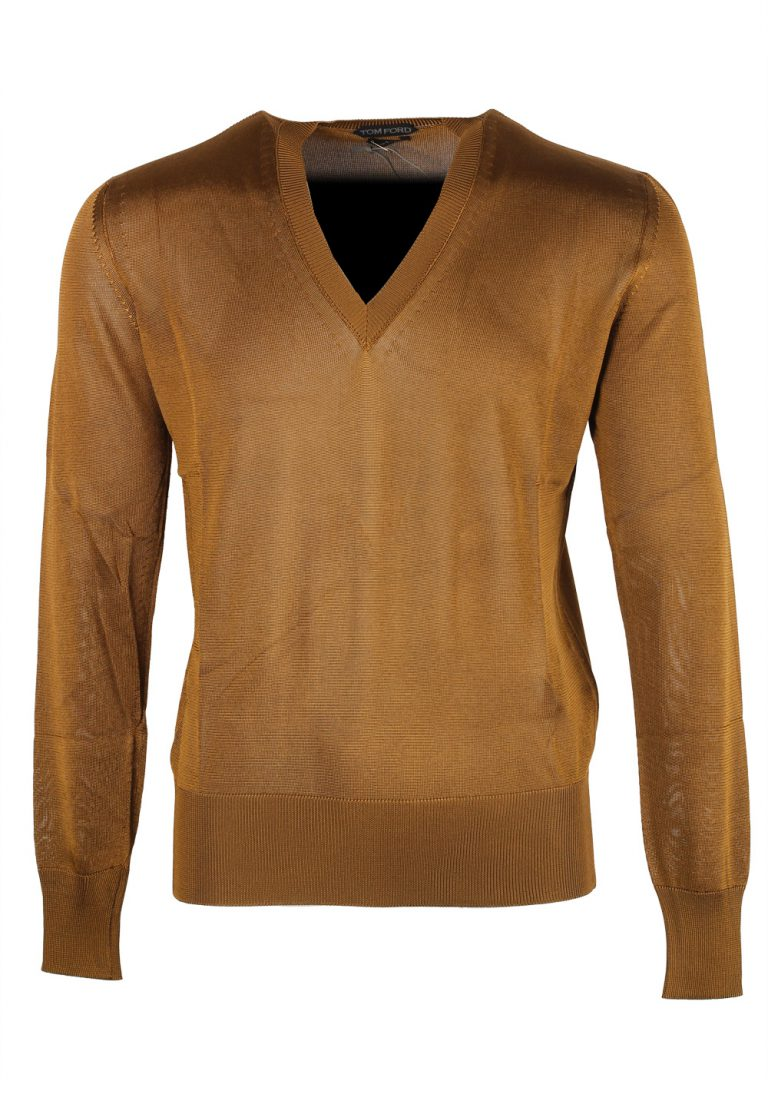 TOM FORD Brown V Neck Sweater Size 48 / 38R U.S. In Viscose - thumbnail | Costume Limité