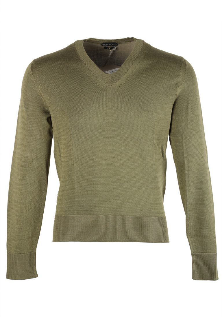TOM FORD Green V Neck Sweater Size 48 / 38R U.S. In Silk Wool - thumbnail | Costume Limité