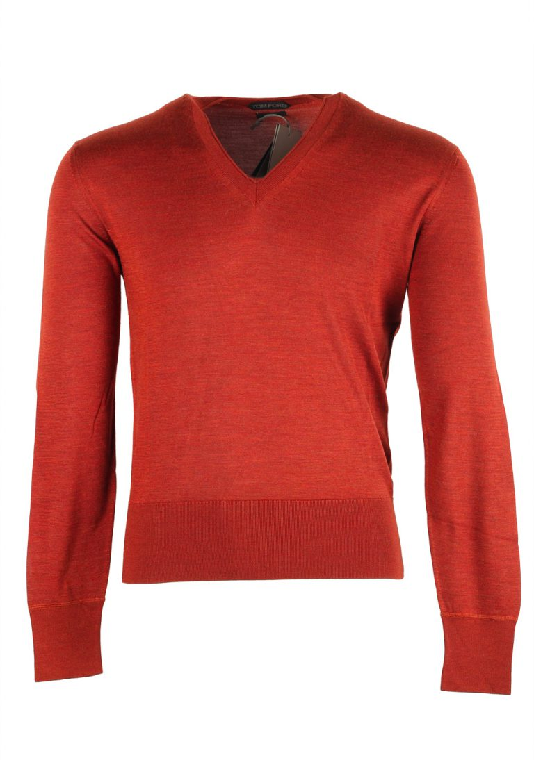 TOM FORD Copper V Neck Sweater Size 48 / 38R U.S. In Silk - thumbnail | Costume Limité