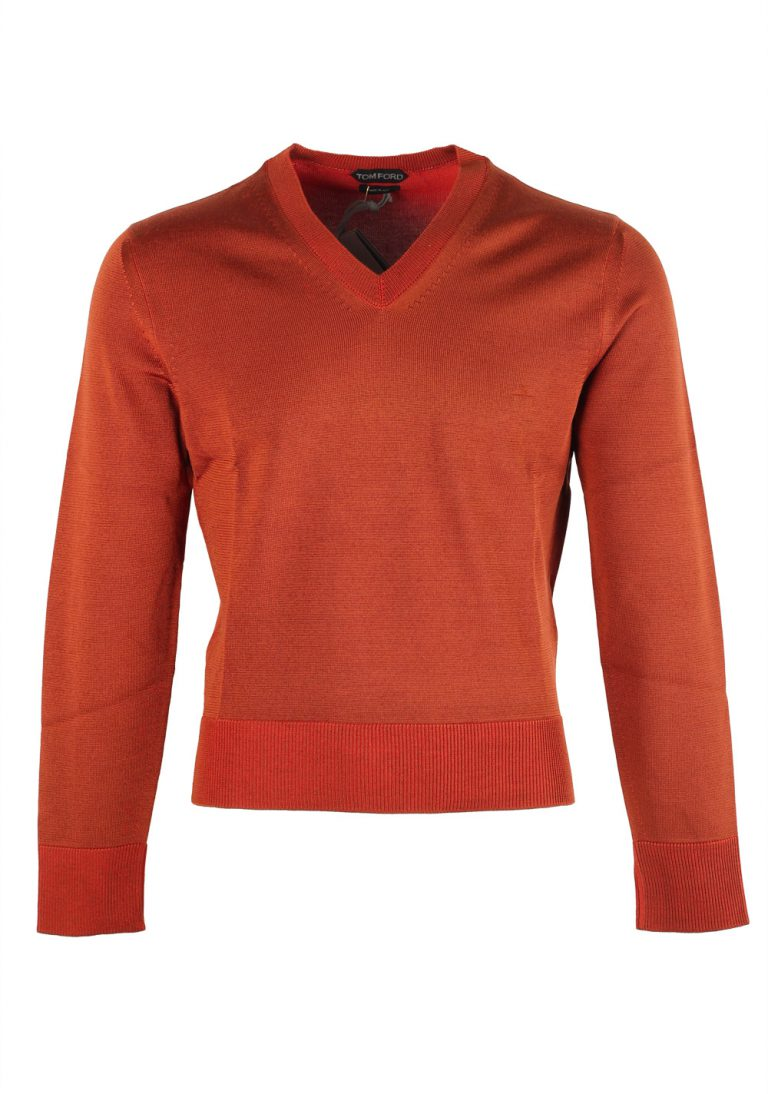 TOM FORD Copper V Neck Sweater Size 48 / 38R U.S. In Silk Wool - thumbnail | Costume Limité
