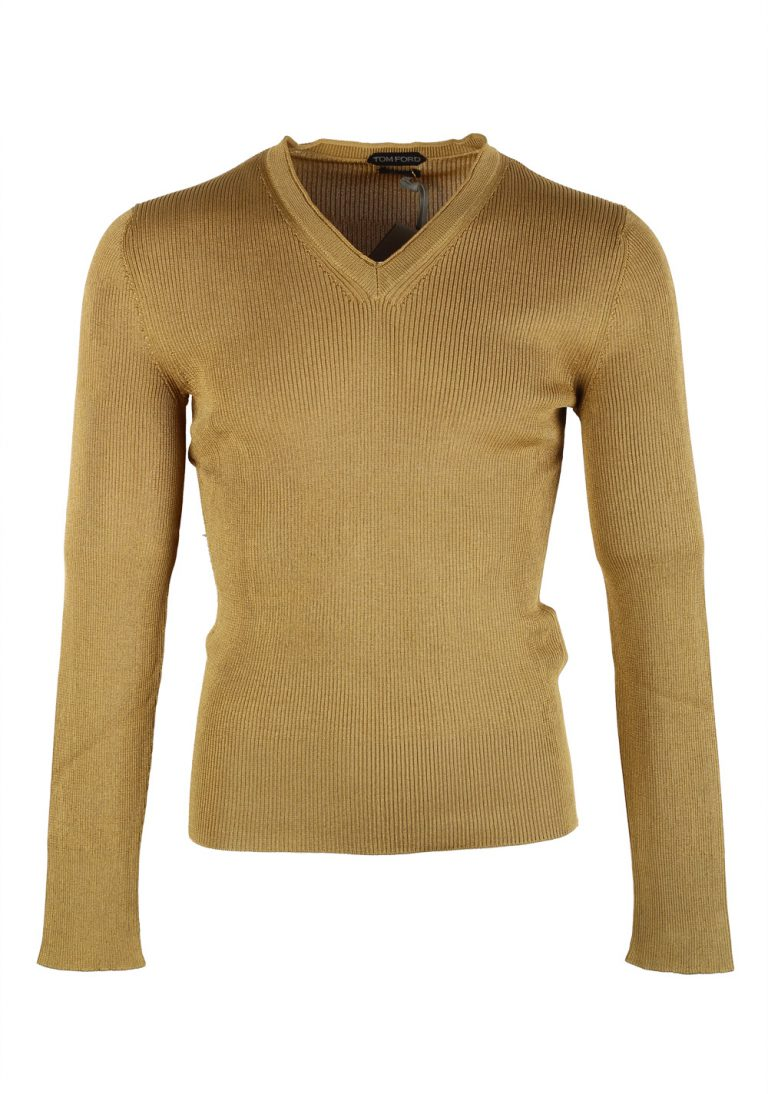 TOM FORD Green V Neck Sweater Size 48 / 38R U.S. In Silk - thumbnail | Costume Limité