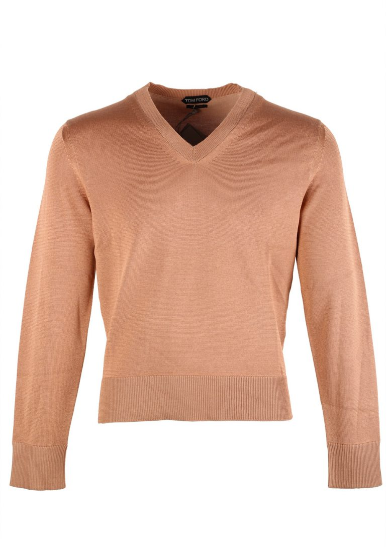 TOM FORD Salmon V Neck Sweater Size 48 / 38R U.S. In Silk Wool - thumbnail | Costume Limité