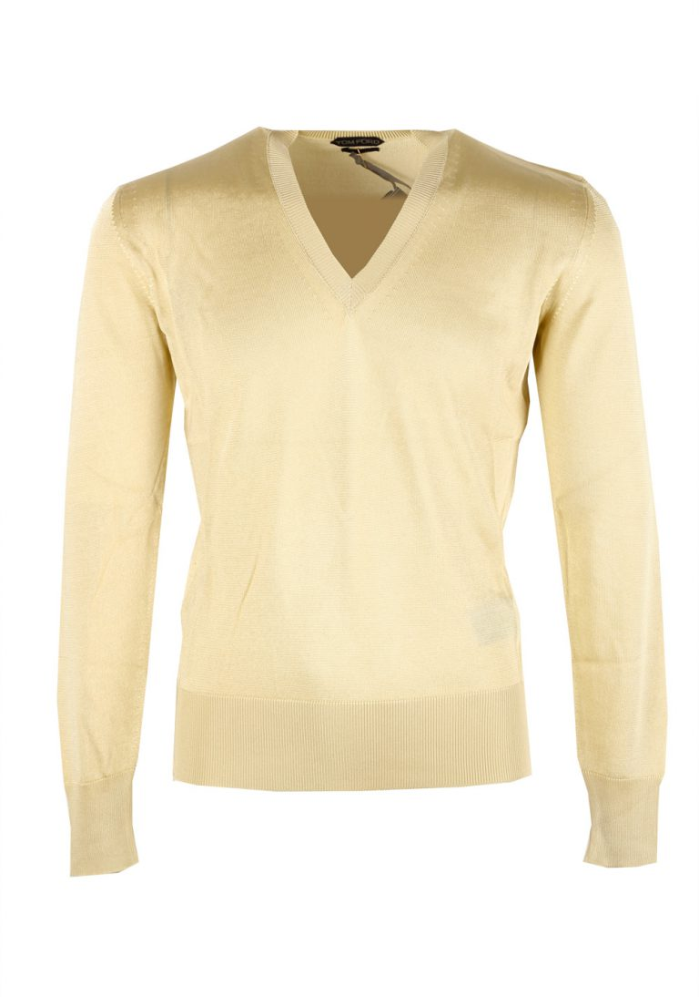 TOM FORD Yellow V Neck Sweater Size 48 / 38R U.S. In Viscose - thumbnail | Costume Limité
