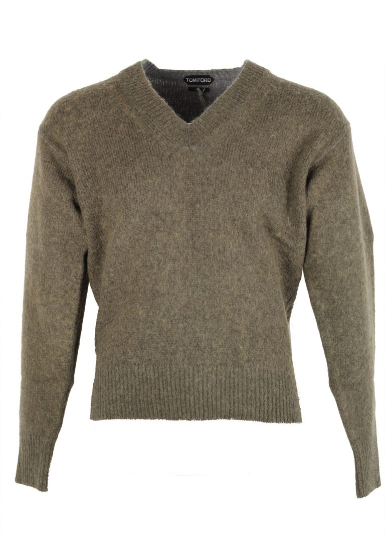 TOM FORD Grayish Green V Neck Sweater Size 48 / 38R U.S. In Wool Mohair Blend - thumbnail | Costume Limité