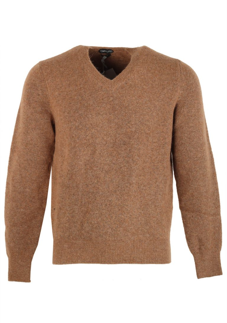 TOM FORD Brown V Neck Sweater Size 48 / 38R U.S. In Alpaca Blend - thumbnail | Costume Limité