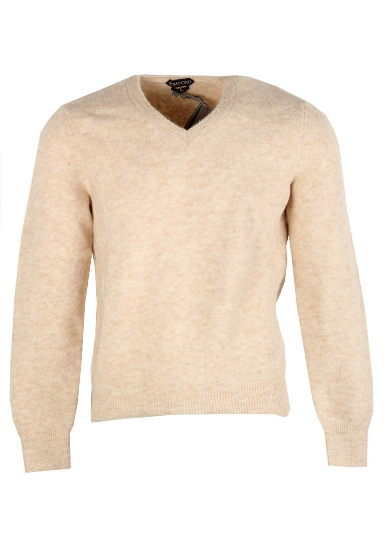 TOM FORD Beige V Neck Sweater Size 48 / 38R U.S. In Alpaca Blend - thumbnail | Costume Limité