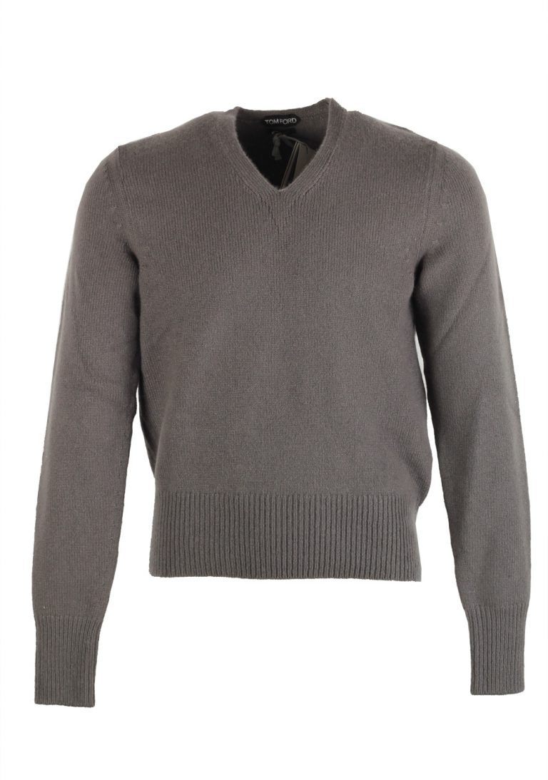 TOM FORD Gray V Neck Sweater Size 48 / 38R U.S. In Cashmere Mohair - thumbnail | Costume Limité