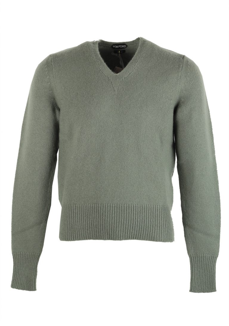TOM FORD Green V Neck Sweater Size 48 / 38R U.S. In Cashmere Mohair - thumbnail | Costume Limité