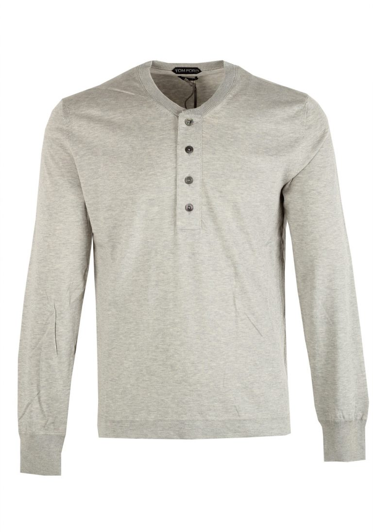 TOM FORD Gray Long Sleeve Henley Sweater Size 48 / 38R U.S. In Cotton - thumbnail | Costume Limité