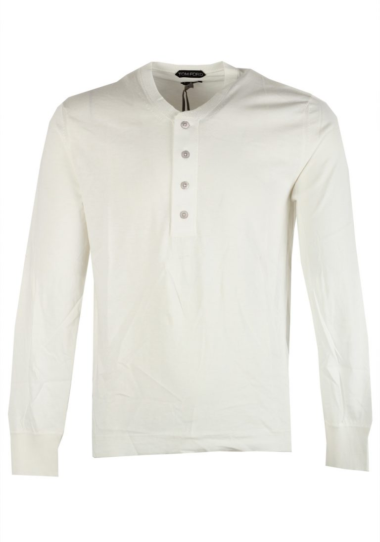 TOM FORD White Long Sleeve Henley Sweater Size 48 / 38R U.S. In Cotton - thumbnail | Costume Limité
