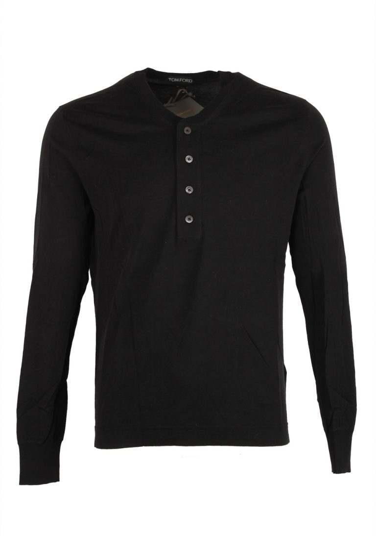 TOM FORD Black Long Sleeve Henley Sweater Size 48 / 38R U.S. In Cotton - thumbnail | Costume Limité