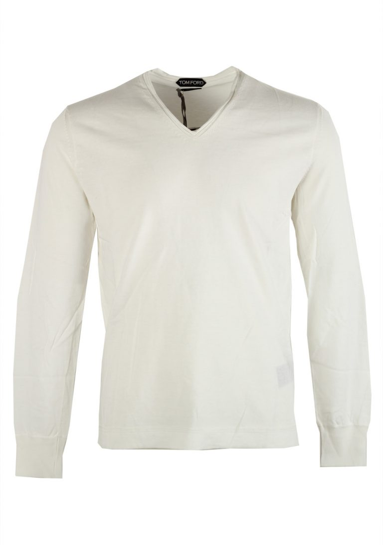 TOM FORD White Long Sleeve V Neck Shirt Size 48 / 38R U.S. In Cotton - thumbnail | Costume Limité