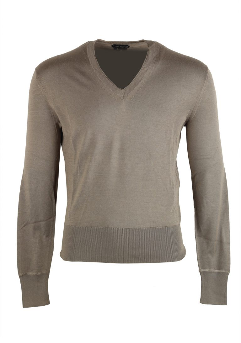 TOM FORD Beige V Neck Sweater Size 48 / 38R U.S. In Silk - thumbnail | Costume Limité
