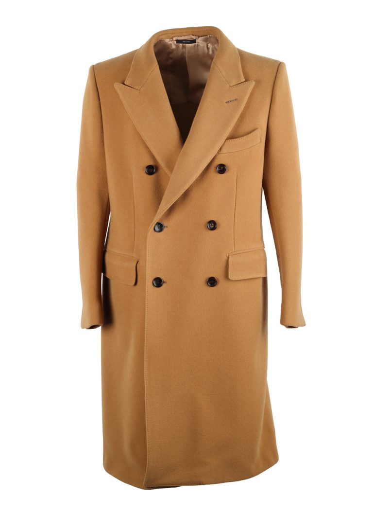 TOM FORD Beige Camel Double Breasted Coat Size 52 / 42R U.S. Outerwear - thumbnail   Costume Limité
