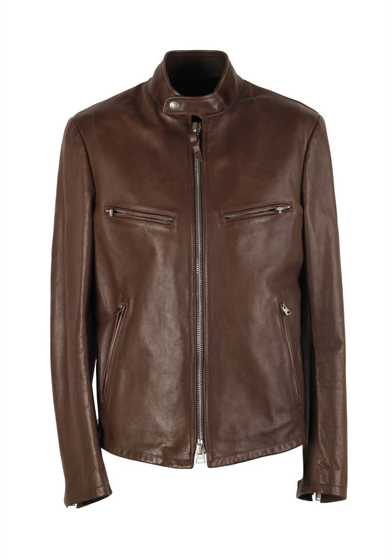 TOM FORD Brown Leather Jacket Coat Size 48 / 38R U.S. - thumbnail   Costume Limité